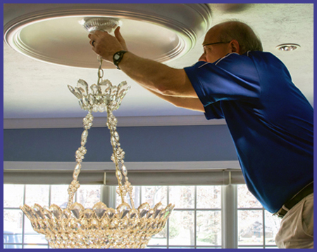 Chandelier and ceiling fan installation hufnagel electric chandelier installation mozeypictures Choice Image